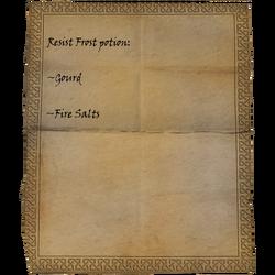 Resist Frost potion: Gourd, Fire Salts