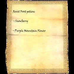Resist Frost potion: Snowberry, Purple Mountain Flower