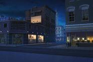 SFU Ulica ze sklepami w nocy