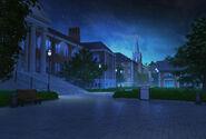 SFU Dziedziniec uczelni w nocy