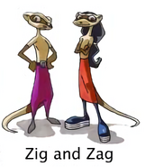 Zig and Zag concept art for Sly 1