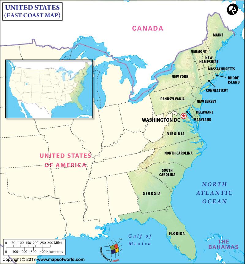 Us Map East Coast States Atlantic coast of the United States   SMOMS2009 Wiki   Fandom