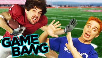 The video thumbnail featuring an edited photo of Ian Hecox (left) and David Moss (Lasercorn)
