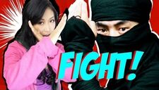 The video thumbnail featuring Mari (left) and a ninja