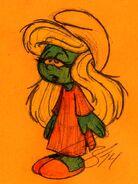 Smurfette in Nightgown Pen Sketch - Smurfs