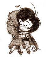 Chibi Johan and Falla Hug - Smurfs