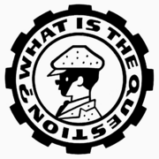 Black-and-white logo in the style of All the Wrong Questions. A gear with the company name surrounds a boy in a suit and cap.