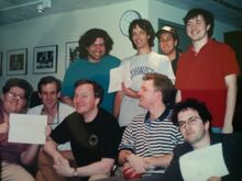 Several of the writers sometime between 1992 and 1995. Fred is standing next to Adam Sandler and wearing the grey Northwestern shirt..jpg