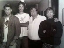From left to right- Adam Sandler, Fred Wolf, Chris Farley, and David Spade in the hallway at 30 Rock..JPG