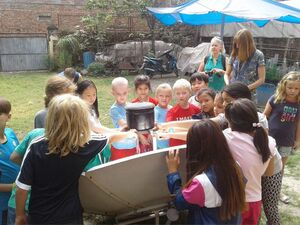 Enjoying with solar cooker
