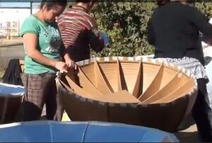 Recycled Cardboard Solar Cooker manufacturing.jpg