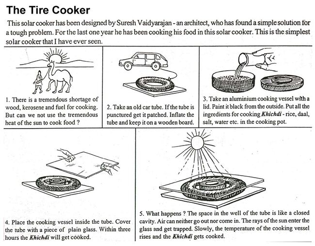 Images and instructions for building a tire cooker.