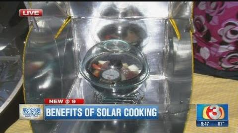 Merry Bevill demonstrates solar cookers on Good Morning Arizona