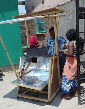 Clement Musonda Heliac style solar cooker, 9-20-17