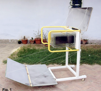 Solar Oven K5, side view with reflectors open, 10-23-14