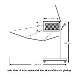 Solar Oven K5, side view diagram, 10-23-14