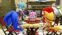 S1E27 Team Sonic table Meh Burgers