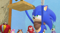 Sonic reading the trophy