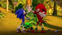 SB S1E25 Sonic Knuckles high five
