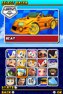 Sonic and Sega All Stars Racing DS character select 12