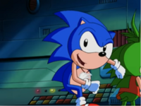 Sonic typical pose before running