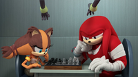 Sticks and Knuckles play chess