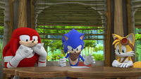 SB S1E39 Knuckles Sonic Tails think