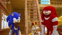 SB S1E35 Sonic Tails Knuckles confused