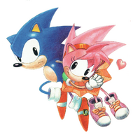 CD Sonic and Amy sketch colored