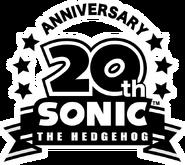 Sonic 20th Anniversary logo bw
