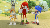 SB S1E13 Tails Knuckles Sonic coin flip