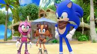SB S1E19 Amy Sticks Sonic happy