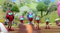 Team Cybonic watching Team Sonic dance