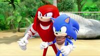 SB S1E19 Knuckles Sonic battle stance
