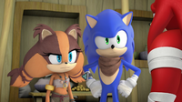 Sonic and Sticks staring at Knuckles