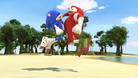 SB S1E11 Sonic Knuckles chest bump