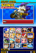 Sonic and Sega All Stars Racing DS character select 10