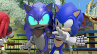 Cyborg Sonic blocks Sonic