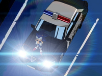 Sonic standing on a police car