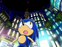 Sonic looking around the new city