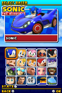 Sonic and Sega All Stars Racing DS character select 01