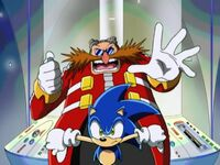 Sonic right by eggman bwhahaha