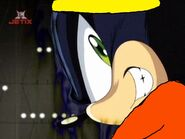 Dark Sonic's first appearance after a Ultimoose member hits him and everybody in the stadium laughs at him