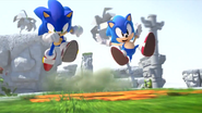 Morden Sonic and Classic Sonic