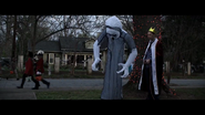 Man with a ghost airblown inflatable
