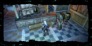 Geralt avec l'homme mystérieux dans la maison de Talar