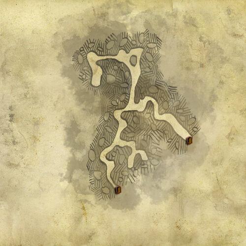 Carte de la grotte dans la forêt