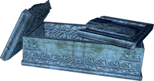a sarcophagus, one of many