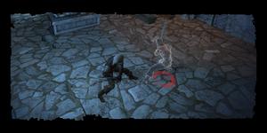 Geralt combattant le fantôme de Léo