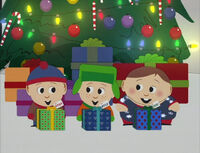 Rankin/Bass versions of Cartman, Stan, and Kyle after receiving their Christmas presents.